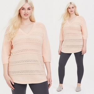 2X Torrid Blush Pink Pointelle Tunic Sweater